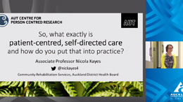 YouTube video of a presentation: Patient-centred, self-directed care and how do you put into practice?